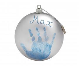 Комплект бебешки отпечатъци Baby Art Коледна топка, сребърно-зелена BA.00036.010