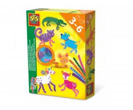 Детска играчка за шиене, плетене и бродиране - СЕС - Животни с плюшен шнур