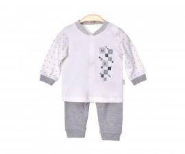 Бебешки комплект жилетка с клин Kitikate, момче, сив меланж, 1-12 м.