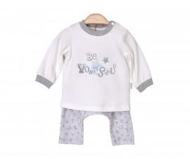 Бебешки комплект блузка с панталон Kitikate, момче, сив меланж, 1-12 м.