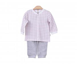 Бебешка пижама от 2 части Kitikate, момиче, розов меланж, 3-18 м.