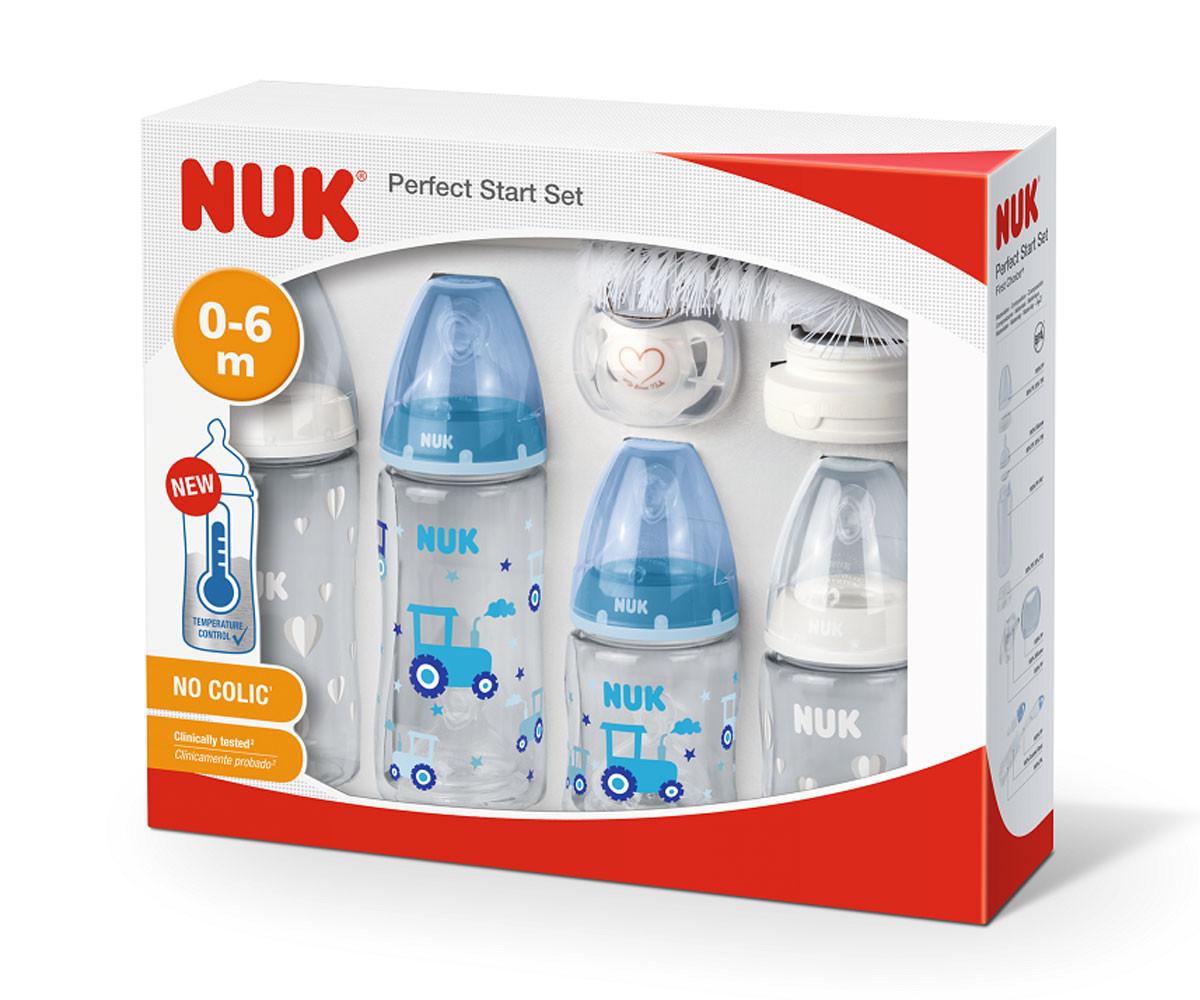 Комплект Nuk Perfect start Temperature Control, 10 части, момче