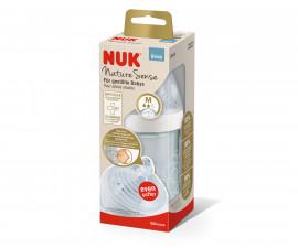 Стъклено шише Nuk Nature Sense, 240 мл, силиконов биберон ,0-6м M, softer 10745129