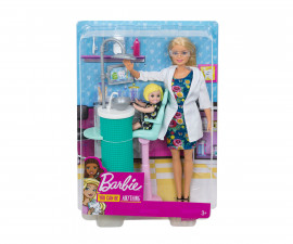 Barbie FXP16 - Dentist Doll and Playset, Blonde, with Small Patient Doll and Accessories