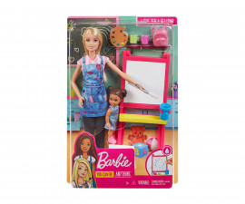 Barbie GJM29 - Art Teacher Playset with Blonde Doll, Children's Doll, Easel and Accessories
