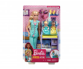 Barbie GKH23 - Baby Doctor Playset with Blonde Doll, 2 Infant Dolls, Exam Table and Accessories