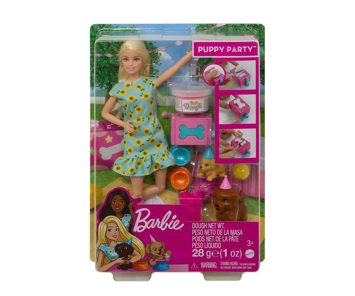 Детска играчка модни кукли Barbie GXV75 - Игрален комплект: Парти с кученца