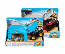 Детска играчка коли, камиони, комплекти Hot Wheels GKY01 Hot Wheels: Monster Jam Гараж с изстрелвачка за голямо бъги