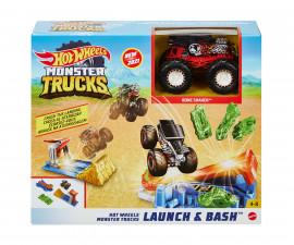 Игрален комплект за деца Hot Wheels - Голямо бъги с 4 броя катастрофирали колички