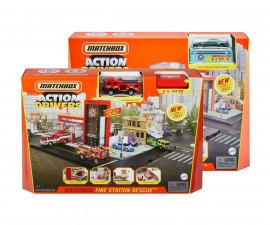 Колекционерски колички за момчета Matchbox - Детски комплект за игра Action Drivers, пожарна станция HBD74
