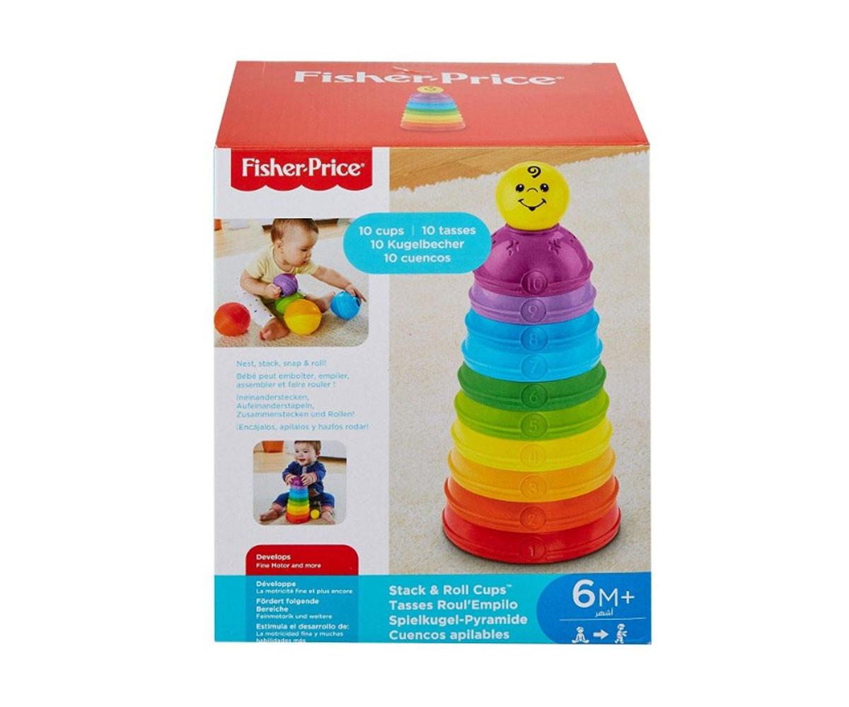 Детска кула за подреждане с разноцветни чашки Fisher Price