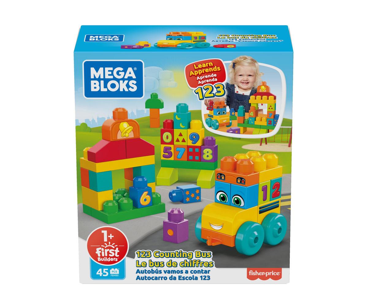 Игрален комплект за деца конструктор Mega Bloks FBM80, aвтобусче с цифри 123