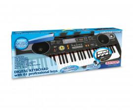 Музикален инструмент за деца - Електронен синтезатор 61 клавиша и USB Bontempi 16 6118