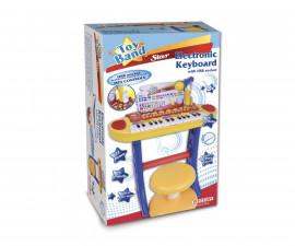 Детска музикална играчка електронен синтезатор с USB, микрофон и стол Bontempi 13 3242