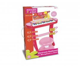 Детски музикален инструмент за момичета - Електронен синтезатор с 31 клавиша, микрофон и столче Bontempi 133671
