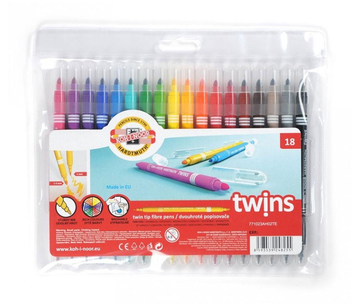 Двувърхи флумастери за оцветяване и рисуване, 18 цвята