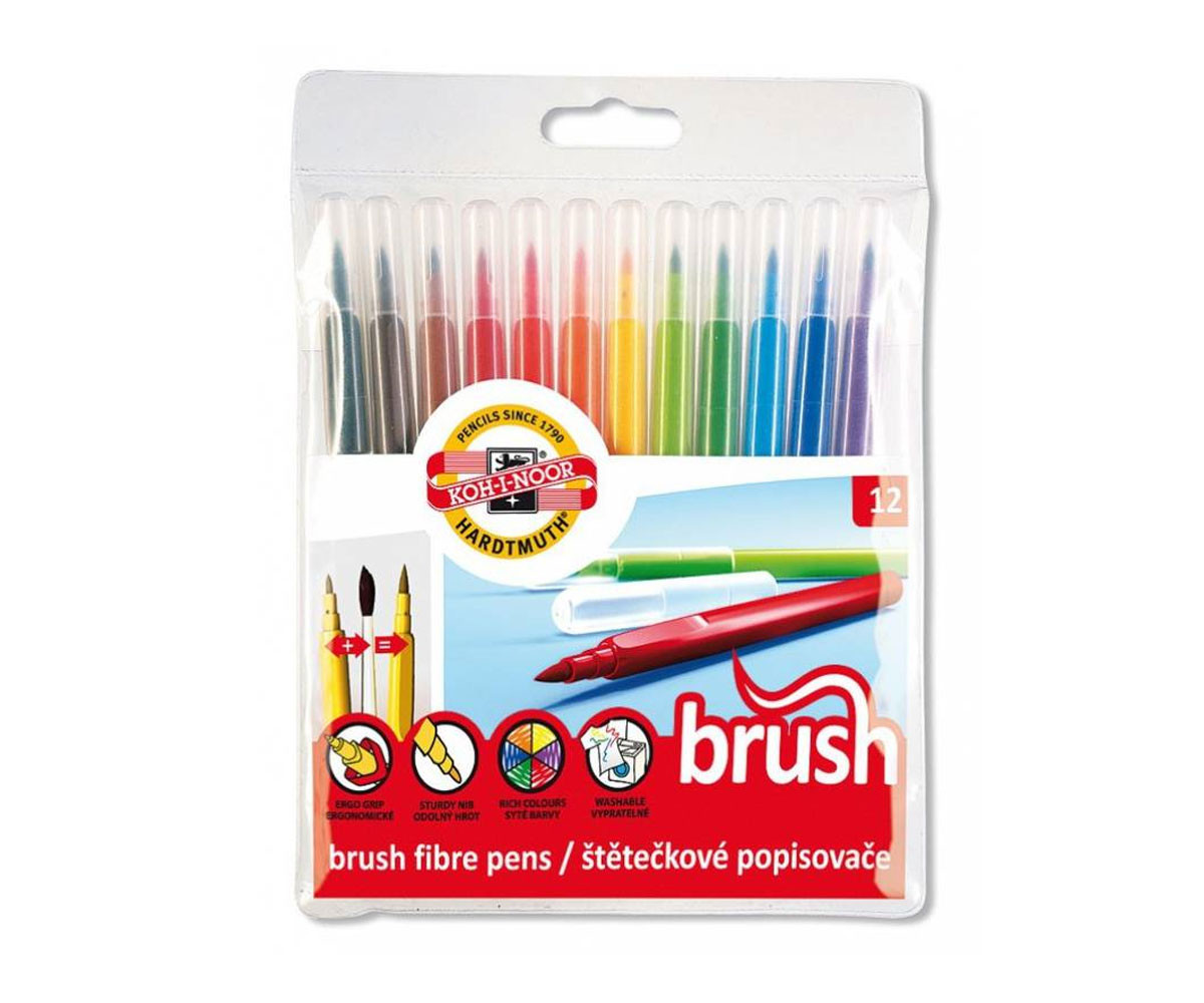 Флумастери за оцветяване и рисуване четка, 12 цвята
