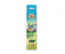 Комплект цветни моливи Koh-i-Noor Птици, 6 цвята