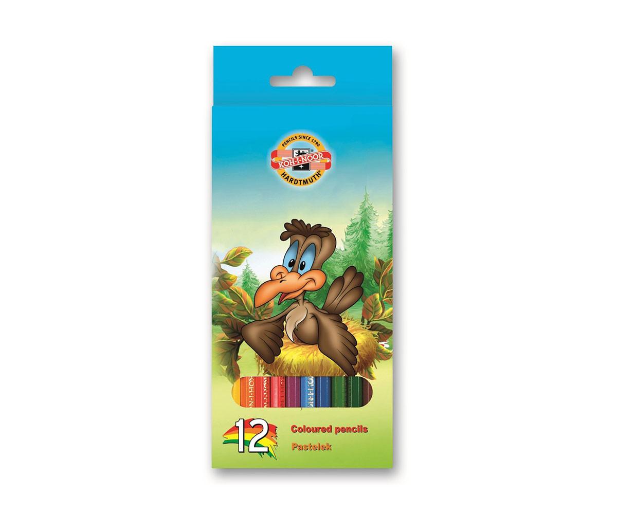 Комплект цветни моливи Koh-i-Noor Птици, 12 цвята