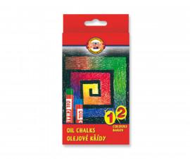 Комплект маслени пастели Koh-i-Noor, 12 цвята