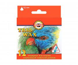 Комплект триъгълни восъчни пастели Koh-i-Noor, 12 цвята