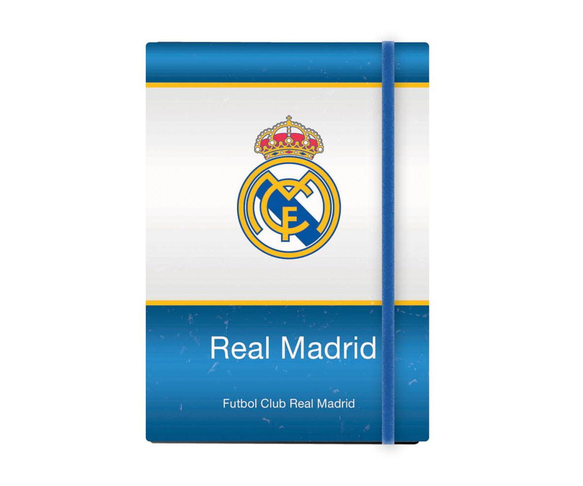 Бележник с ластик FC Real Madrid А5, широки редове, 96 листа