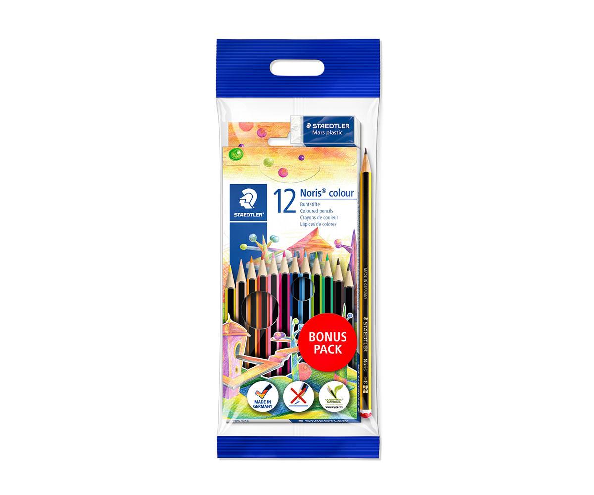 Цветни моливи за оцветяване и рисуване Staedtler Noris Club, 12 цвята, 1 молив, гума