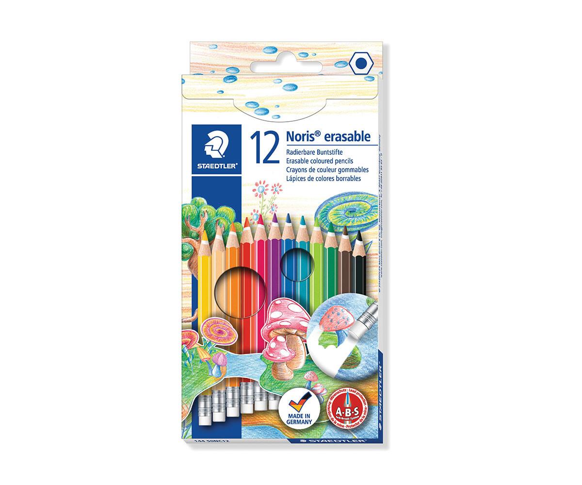 Цветни моливи за оцветяване и рисуване Staedtler Noris Club, 12 цвята и гума