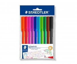Триъгълна химикалка за писане Staedtler 432 M, 10 цвята