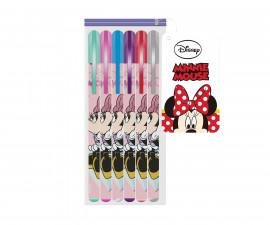 Химикалки за писане с брокат Disney Minnie, 6 цвята