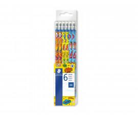 Моливи за рисуване и писане Staedtler Comic, HB с гума, 6 броя