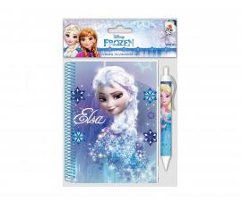 Бележник със спирала и химикалка Frozen