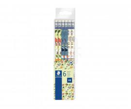 Ученически принадлежности моливи Staedtler Pattern, HB с гума, 6 броя 172 PMTB6