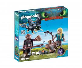 Детска играчка - Playmobil - Хълцук, Астрид и Дракон
