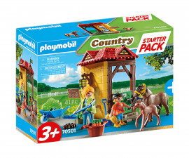 Детски Конструктор - Плеймобил 70501 - Стартов Пакет Ферма За Коне