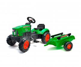 Детски трактор за каране с педали Falk Supercharger, зелен с ремарке
