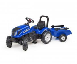 Детски трактор за каране с педали Falk New Holland T6, син с ремарке