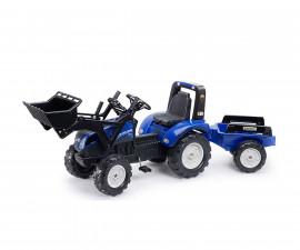 Детски трактор за каране с педали Falk New Holland T8, син с ремарке