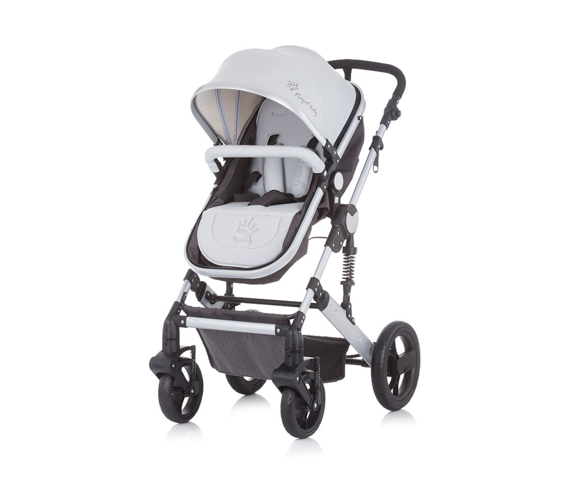 Комбинирана бебешка количка Chipolino Тера, графит лен KKTER1201GL