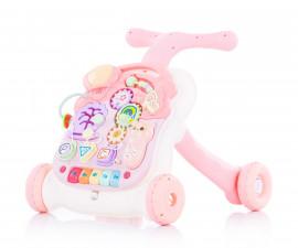 Музикална играчка на колела за прохождане на бебета и масичка за игра 2в1 Chipolino Мулти, розова