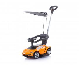 Кола за каране на деца с дръжка и сенник Chipolino Lamborghini, оранжева