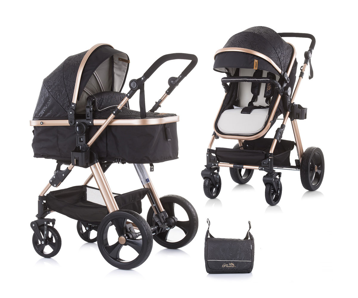 Комбинирана бебешка количка с трансформираща седалка до 22кг Chipolino Хавана, карбон KKHA02101CB