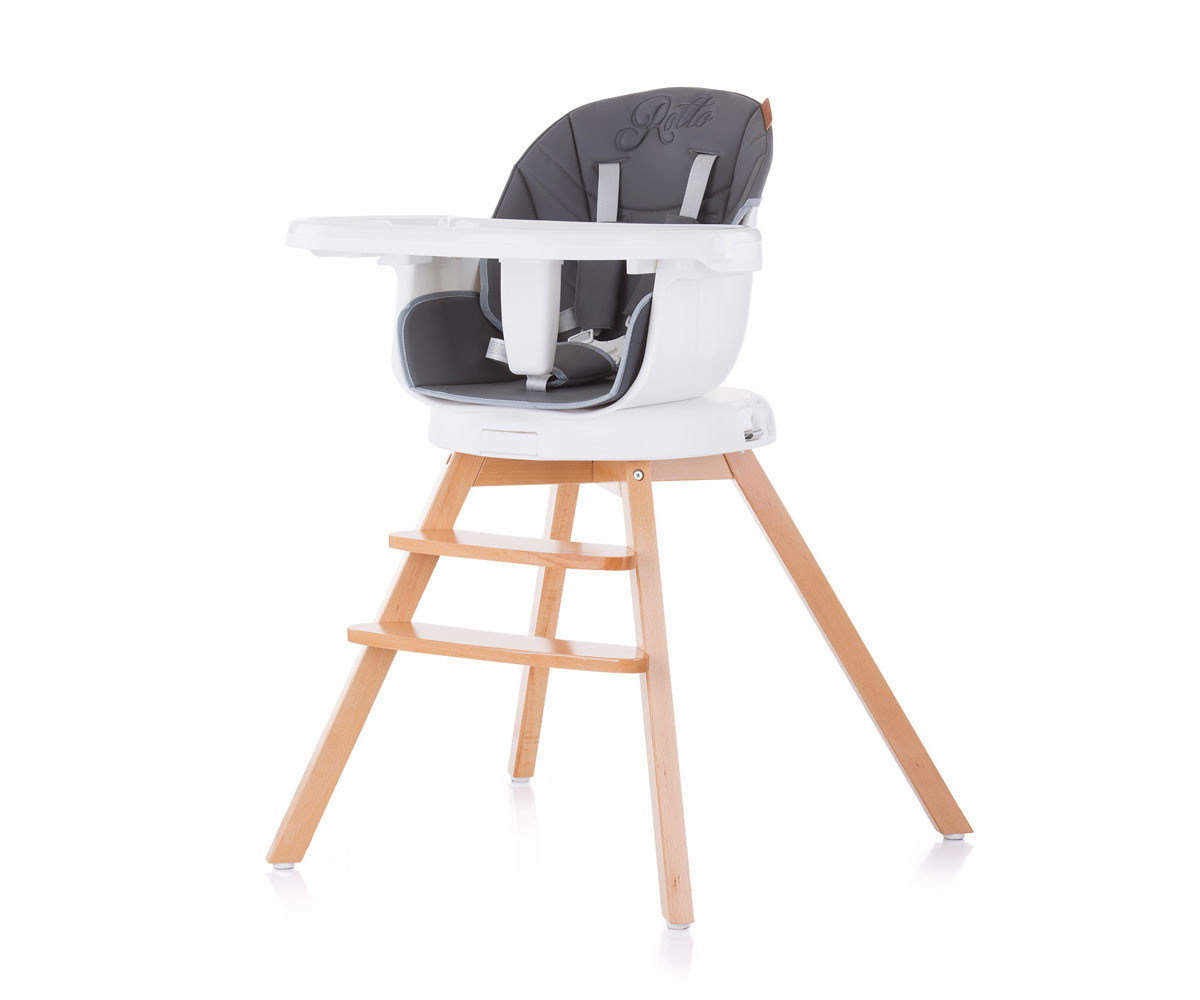 Въртящо детско столче за хранене Chipolino 3в1 Рото, асфалт