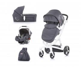 Комбинирана детска количка с бяла рама Chipolino Electra 3в1, сребро