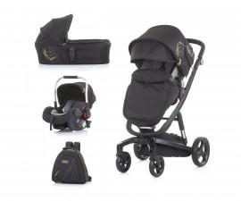Комбинирана детска количка с черна рама Chipolino Electra 3в1, злато
