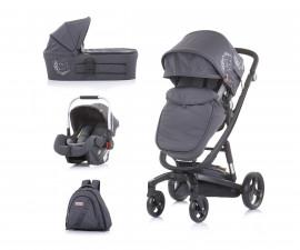 Комбинирана детска количка с черна рама Chipolino Electra 3в1, сребро