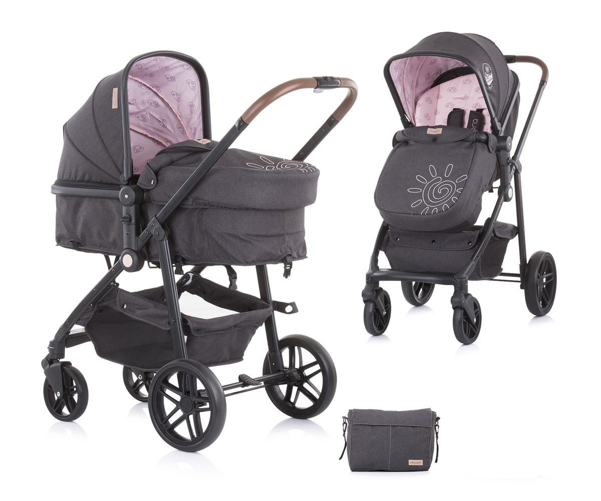 Комбинирана бебешка количка с трансформираща седалка до 22кг Chipolino Адора, божур KKAD02104PP