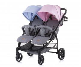 Бебешки колички за близнаци до 22кг Chipolino 2 Classy, синьо/розово