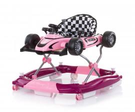 Проходилка за деца с музикална играчка 4в1 Chipolino Рейсър, розова PRRC02103PI