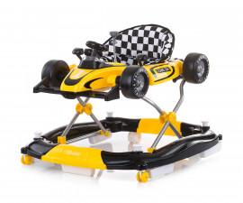 Проходилка за деца с музикална играчка 4в1 Chipolino Рейсър, жълто/черна PRRC02105YE